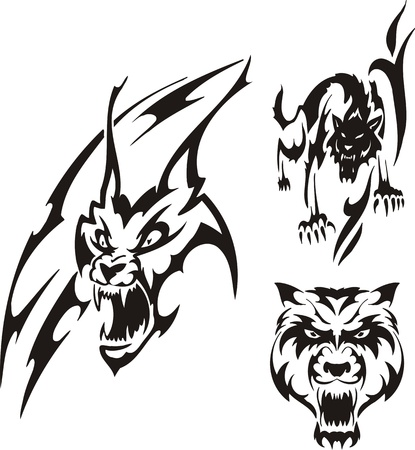lynx: Aggressive lynx and black wolf. Tribal predators. Vector illustration ready for vinyl cutting.