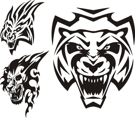 tiger hunting: Tiger, lynx and lion. Tribal predators. Vector illustration ready for vinyl cutting.
