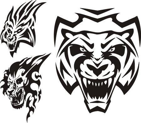 agression: Tiger, lynx et lion. Tribales pr�dateurs. Illustration vectorielle est pr�te pour la d�coupe de vinyle.