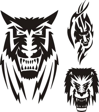 freedom logo: Le�n con una melena negra, una Leona y un lobo. Depredadores tribales. Ilustraci�n vectorial listo para corte de vinilo.
