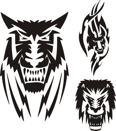 Lion with a black mane, a lioness and a wolf. Tribal predators. Vector illustration ready for vinyl cutting. Vector
