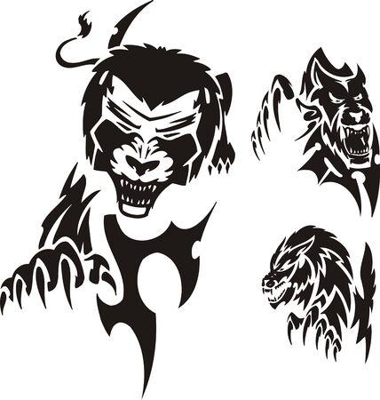 Stolen lion. Tribal predators. Vector illustration ready for vinyl cutting. Vector