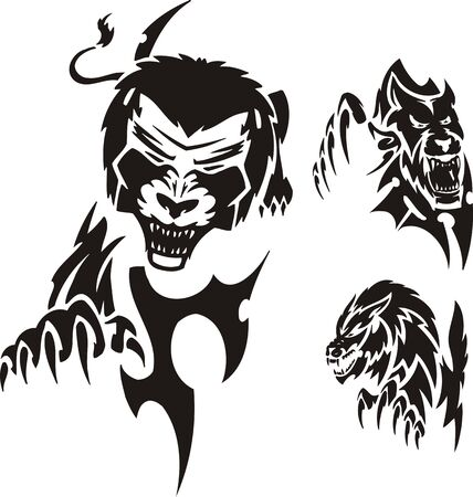 Stolen lion. Tribal predators. Vector illustration ready for vinyl cutting. Vector