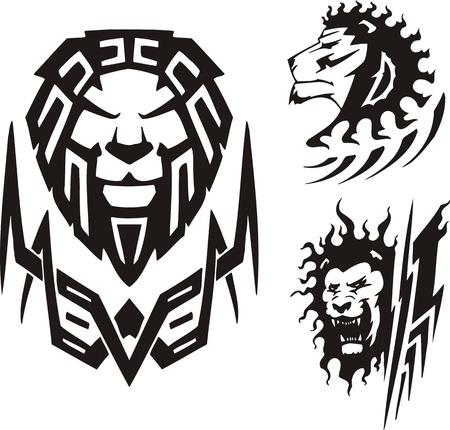 fleischfressende pflanze: Drei Zeichnungen eines L�wen. Tribal Raubtiere. Vektor-Illustration bereit f�r Vinyl schneiden. Illustration
