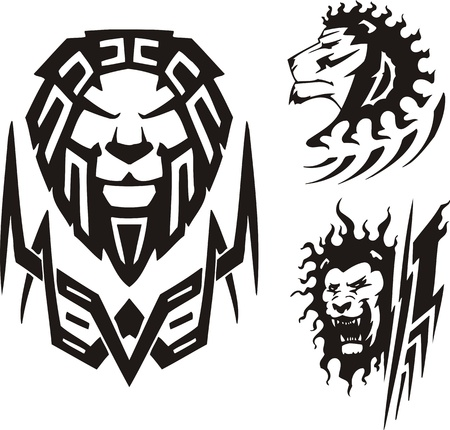 Three drawings of a lion. Tribal predators. Vector illustration ready for vinyl cutting.