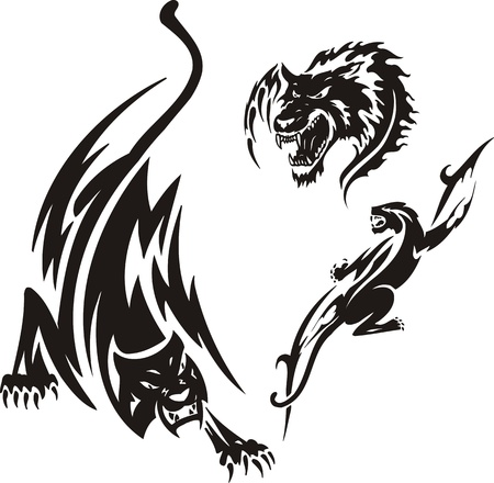 Head of a wolf and two panthers. Tribal predators. Vector illustration ready for vinyl cutting.