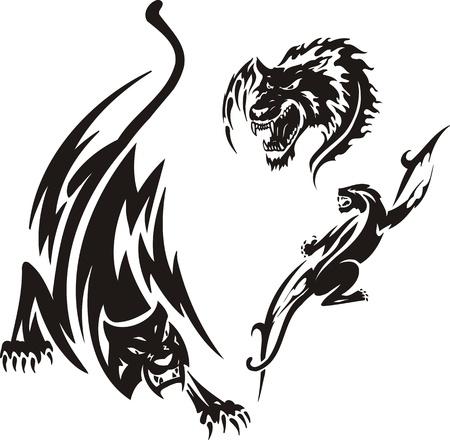 agression: T�te de loup et deux panthers. Tribales pr�dateurs. Illustration vectoriel est pr�te pour la d�coupe de vinyle. Illustration