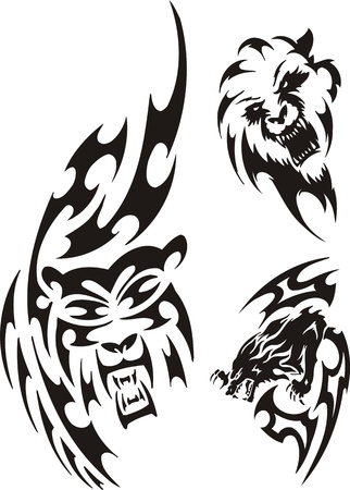 large mouth: Bear, wolf and lion. Tribal predators. Vector illustration ready for vinyl cutting. Illustration