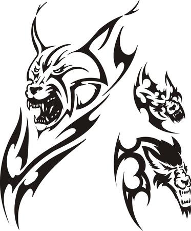 lynxs: Chef d'un lynx avec la bouche ouverte et un loup. Pr�dateurs tribaux. Vector illustration pr�te pour la d�coupe de vinyle. Illustration