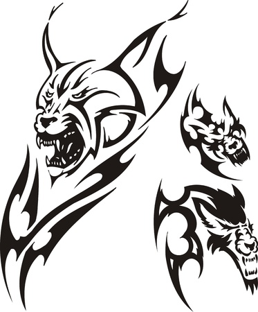 opened mouth: Head of a lynx with the opened mouth and a wolf. Tribal predators. Vector illustration ready for vinyl cutting.
