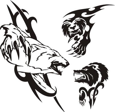 Polar bear, the brown bear and the anoplogaster. Tribal predators. Vector illustration ready for vinyl cutting. Vector