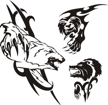 aggression: Polar bear, the brown bear and the anoplogaster. Tribal predators. Vector illustration ready for vinyl cutting.