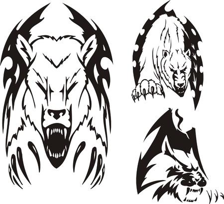 agression: Deux ours polaires et les grands f�lins. Tribales pr�dateurs. Illustration vectoriel est pr�te pour la d�coupe de vinyle.