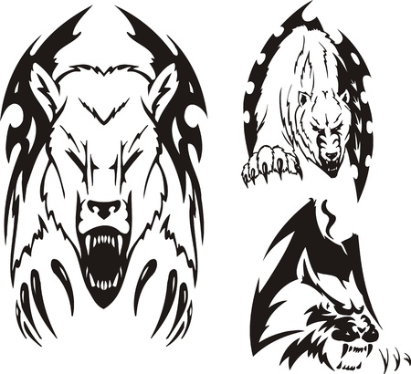 aggression: Two polar bears and the big cat. Tribal predators. Vector illustration ready for vinyl cutting. Illustration
