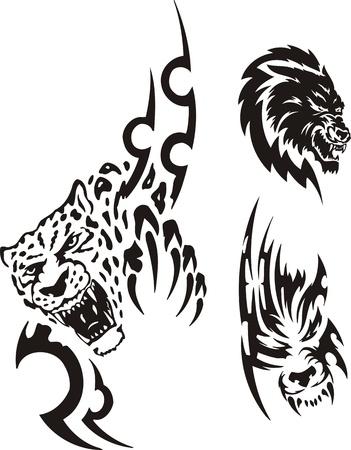 carnivoros: Cabeza de una pantera y un lobo. Tribales de los depredadores. Ilustraci�n de vector listo para el corte de vinilo.