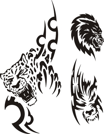 Head of a panther and a wolf. Tribal predators. Vector illustration ready for vinyl cutting. Stock Vector - 8759340