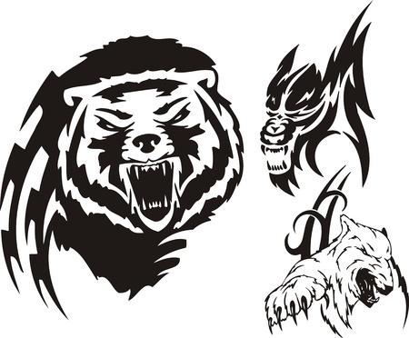 The brown bear, polar bear and wolf. Tribal predators. Vector illustration ready for vinyl cutting.
