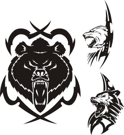 printing logo: The brown bear, polar bear and wolf. Tribal predators. Vector illustration ready for vinyl cutting.