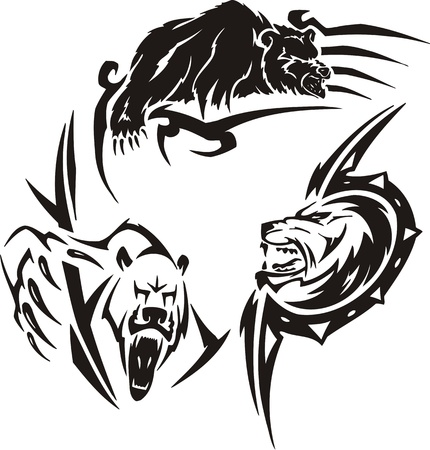 The brown bear, polar bear and wolf. Tribal predators. Vector illustration ready for vinyl cutting. Vector