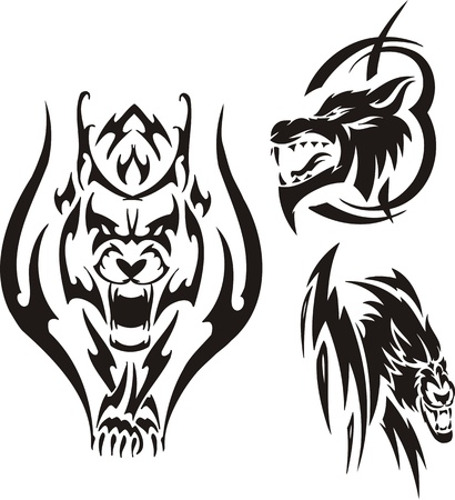lynx: Aggressive lynx and two wolves. Tribal predators. Vector illustration ready for vinyl cutting.
