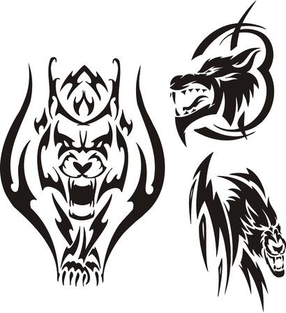 lynxs: Lynx agressif et deux loups. Tribales pr�dateurs. Illustration vectoriel est pr�te pour la d�coupe de vinyle.