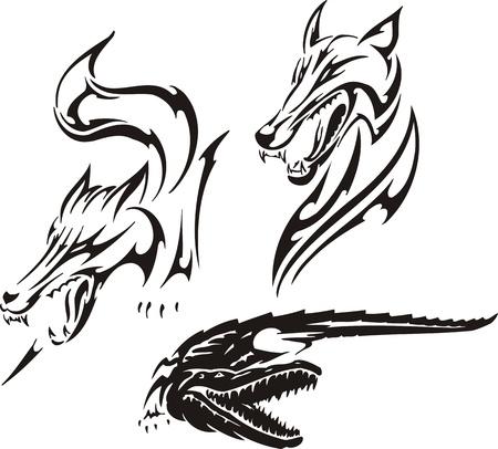 crocodile skin: Crocodile, fox and wolf. Tribal predators. Vector illustration ready for vinyl cutting.