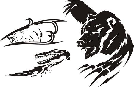 agression: Crocodile, l'ours brun et l'ours polaire. Pr�dateurs tribaux. Vector illustration pr�te pour la d�coupe de vinyle.