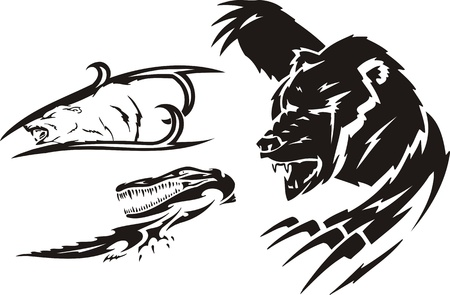 Crocodile, the brown bear and polar bear. Tribal predators. Vector illustration ready for vinyl cutting. Stock Vector - 8759394