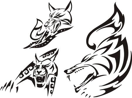 lynx: Fox, lynx i Wilk. Plemiennych drapieżników. Ilustracja wektora gotowy do cięcia winylu.