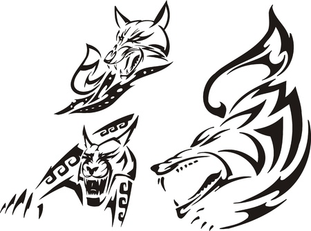 lince: Fox, lince y lobo. Depredadores tribales. Ilustraci�n vectorial listo para corte de vinilo.