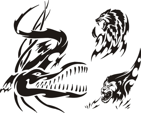 Crocodile, lion and panther. Tribal predators. Vector illustration ready for vinyl cutting. Vector