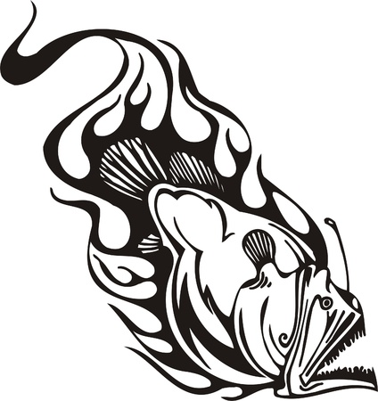 fish fire: Tribal Predators.Vector illustration ready for vinyl cutting. Illustration