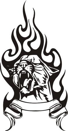 Tribal Predators.Vector illustration ready for vinyl cutting. Stock Vector - 8759525