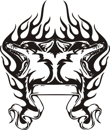 Tribal Predators.Vector illustration ready for vinyl cutting. Illustration