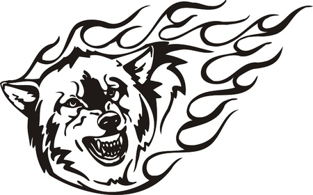 lobo feroz: Ilustraci�n Predators.Vector tribal listo para corte de vinilo.