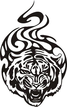 Tribal Predators.Vector illustration ready for vinyl cutting. Stock Vector - 8759522