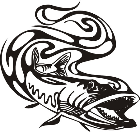 Tribal Predators.Vector illustration ready for vinyl cutting. Illustration