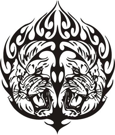 Tribal Predators.Vector illustration ready for vinyl cutting. Stock Vector - 8759607
