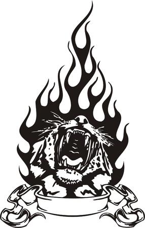tiger eyes: Tribal Predators.Vector illustration ready for vinyl cutting. Illustration