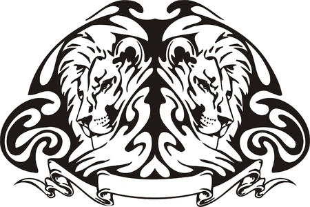 Tribal Predators.Vector illustration ready for vinyl cutting. Stock Vector - 8759671