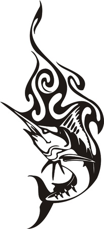 phoenix bird: Tribal Predators.Vector illustration ready for vinyl cutting. Illustration