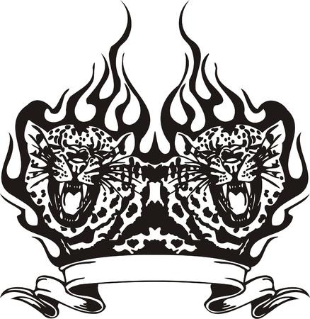 Tribal Predators.Vector illustration ready for vinyl cutting. Stock Vector - 8759743