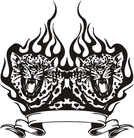 Tribal Predators.Vector illustration ready for vinyl cutting. Stock Vector - 8759743