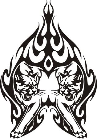 Tribal Predators.Vector illustration ready for vinyl cutting. Stock Vector - 8759684