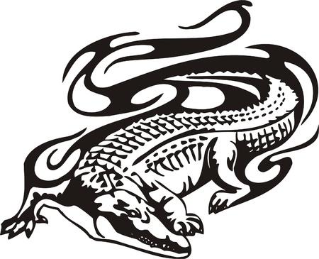jaws: Tribal Predators.Vector illustration ready for vinyl cutting. Illustration