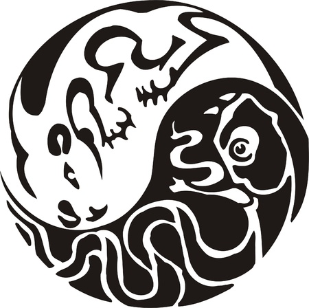 Tribal Predators.Vector illustration ready for vinyl cutting. Stock Vector - 8759690