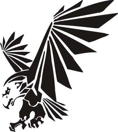 tatuaje de aves: Ilustraci�n Predators.Vector tribal listo para el corte de vinilo.