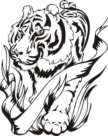 silueta tigre: Ilustraci�n Predators.Vector tribal listo para el corte de vinilo.