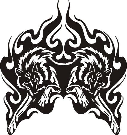 lobo feroz: Ilustraci�n Predators.Vector tribal listo para el corte de vinilo.