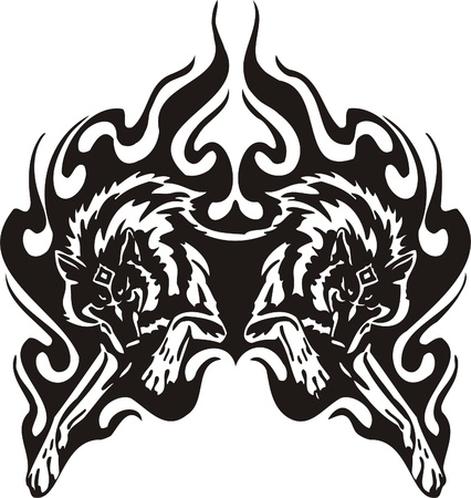 lobo: Ilustraci�n Predators.Vector tribal listo para el corte de vinilo.